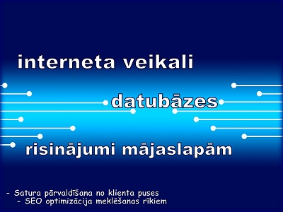 Programmas un risinājumi mājaslapām. Interneta veikali, datu uzskaites sistēmas u.c.